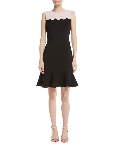scallop sleeveless mini dress