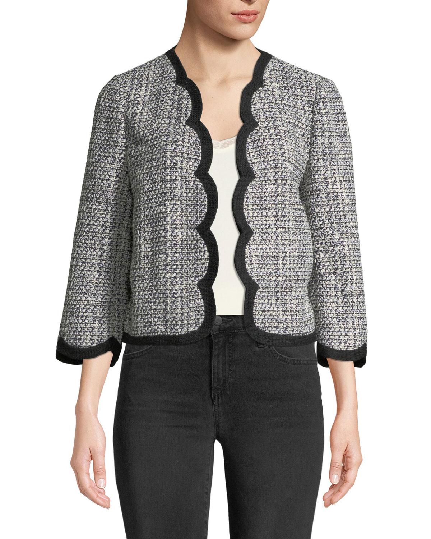 scalloped open-front tweed jacket