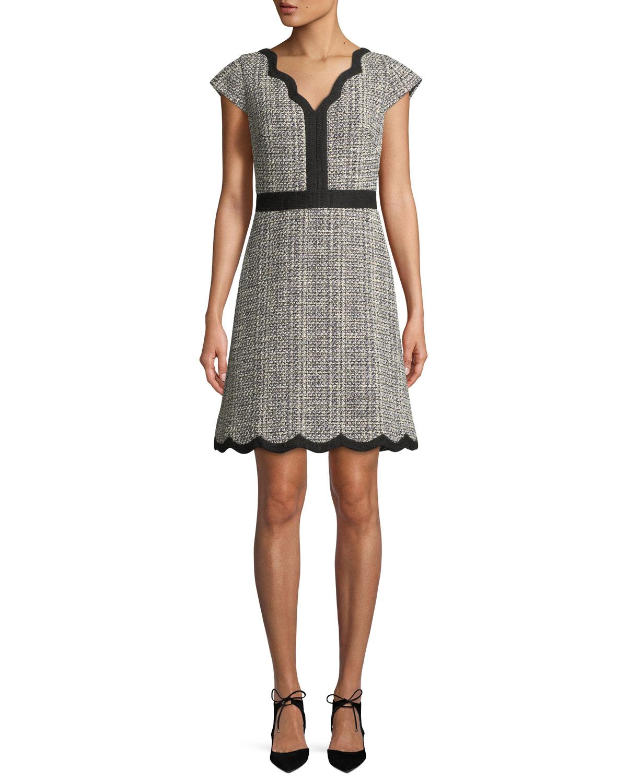 scallop tweed v-neck mini dress