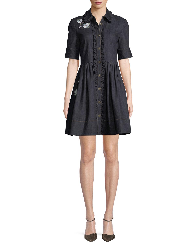 embroidered denim mini shirt dress