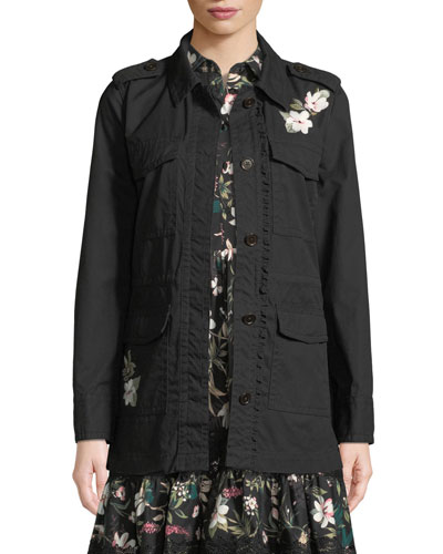 floral four-pocket army jacket
