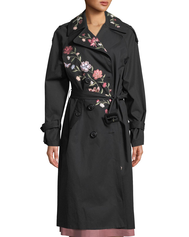 laurelle floral embroidery long coat