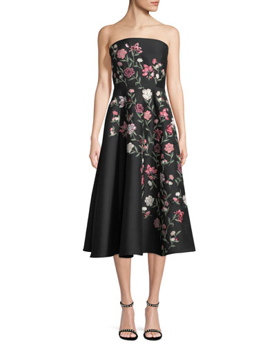 lilliane strapless floral a-line midi dress