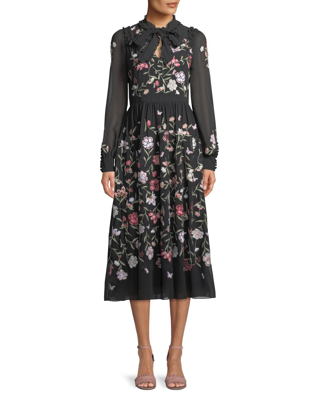 floria self-tie long-sleeve dress