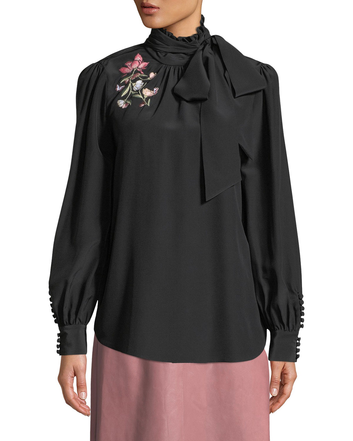 roslin floral embroidered silk top