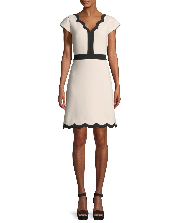 scalloped v-neck a-line mini dress