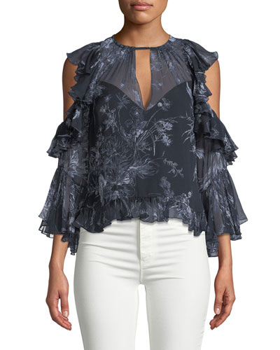 Grace Cold-Shoulder Ruffled Silk Blouse