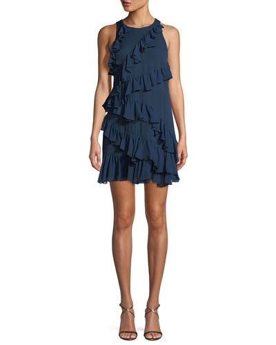Taghrid Sleeveless Ruffled Silk A-Line Short Dress