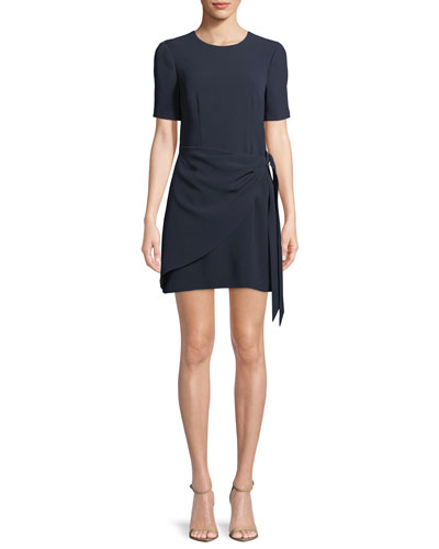 Bia Crewneck Short-Sleeve Crepe Short Cocktail Dress