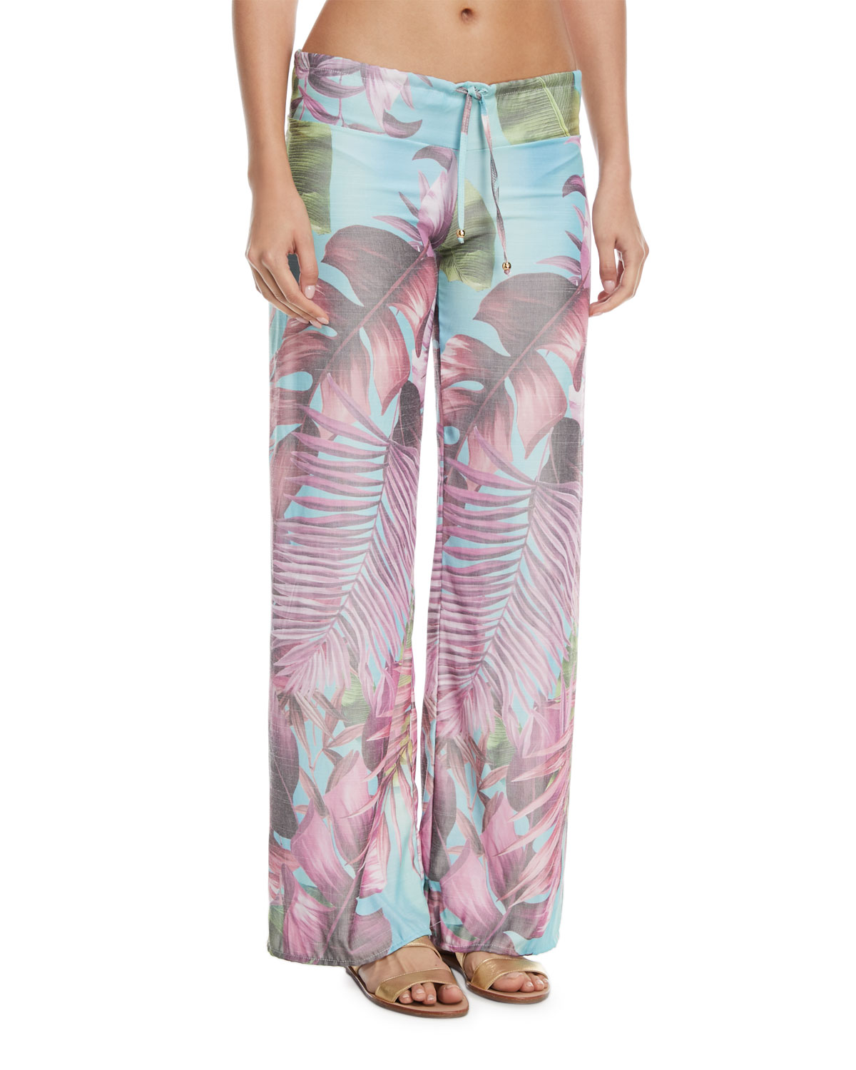 Tropical-Print Coverup Lounge Pants