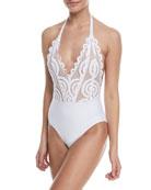 Lace Halter One-Piece Swimsuit