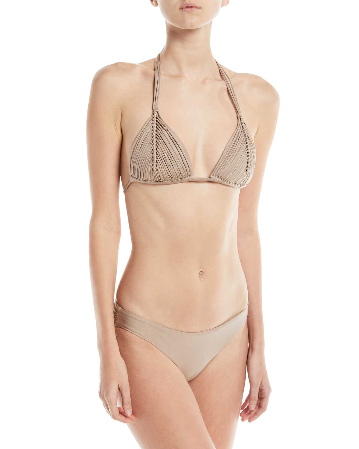 Isla Solid Braided Triangle Swim Top Sand (Available in D Cup)