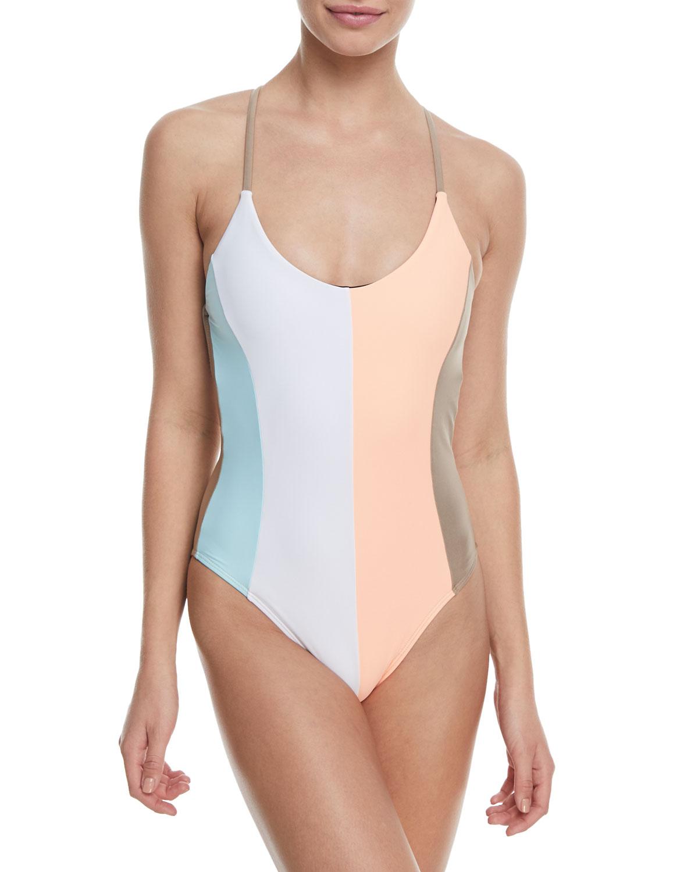Farrah Scoop-Neck Colorblocked One-Piece Swimsuit
