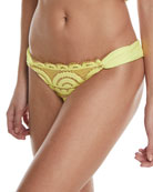 Lace Fanned Full-Coverage Swim Bottom, Sol