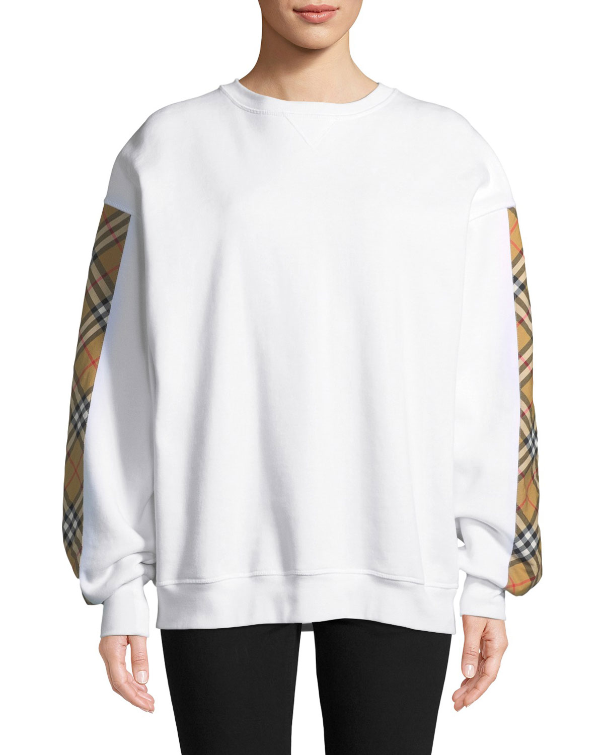 Camilla Satin-Check-Panel Sweatshirt