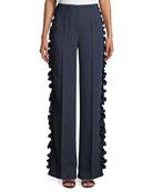 Sedona Wide-Leg Pinstripe Pants with Ruffled Trim