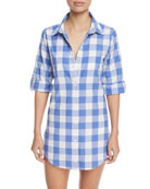Button-Front Gingham Cotton Coverup Shirt