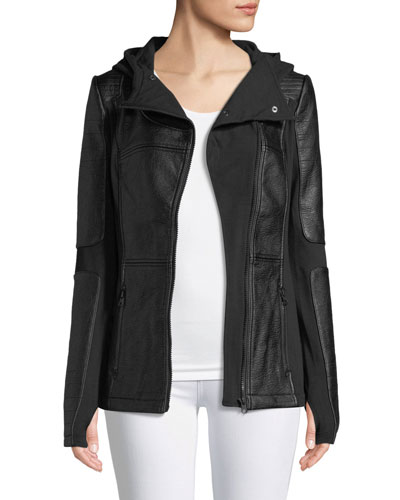 Asymmetric Zip-Front Faux-Leather Moto Jacket