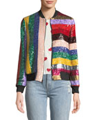 Lonnie Zip-Front Sequined Leather Bomber Jacket