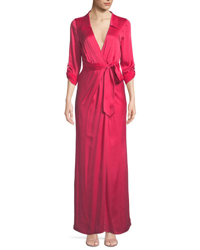 Bayley Wrap Draped Silk Maxi Shirtdress