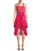 Angelita Asymmetric Tiered Lace Date Night Dress