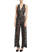 Chels Deep-V Sleeveless Wide-Leg Lace Jumpsuit