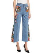 Reina High-Waist Flared-Leg Jeans with Embroidery