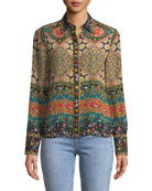Willa Long-Sleeve Button-Front Mixed-Print Silk Top