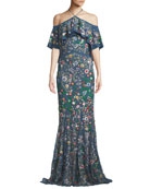 Annelea Floral-Embroidered Halter Gown