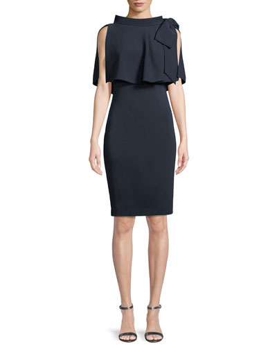Capelet Bow-Shoulder Popover Sheath Dress