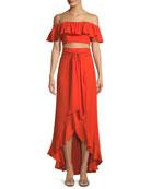 Ruffle Crop Top & A-Line Wrap Skirt Set