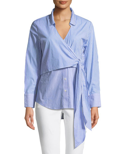 Wrap Tie Button-Down Poplin Shirt
