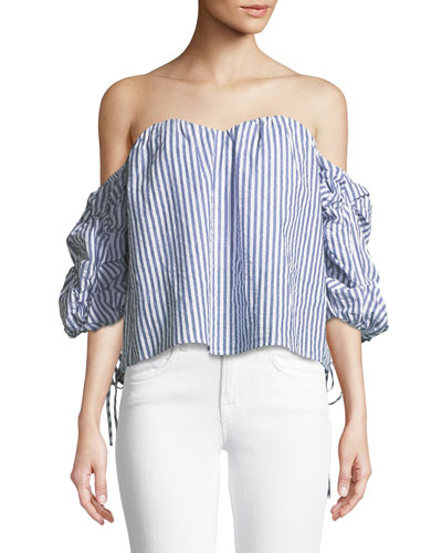 Tie-Sleeve Off-the-Shoulder Striped Cotton Bustier Top