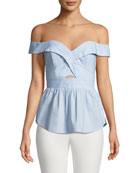 Sara Off-the-Shoulder Fitted Peplum Top
