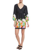 Bouquet Floral-Print V-Neck Coverup Tunic
