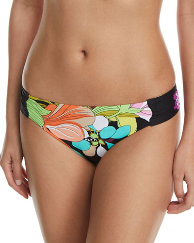 Bouquet Floral-Print Shirred-Side Hipster Swim Bottoms