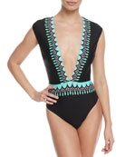 Plunging One-Piece Swimsuit w/ Contrast Trim