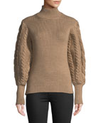 Turtleneck Chunky Cable-Knit Sweater