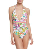 Key West Botanical Plunging One-Piece Swimsuit