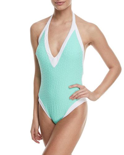 Sunshine Jacquard V-Plunge One-Piece Swimsuit