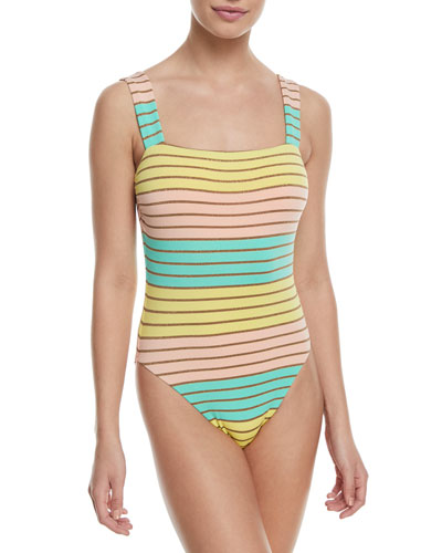 Metallic Stripe High-Leg Maillot One-Piece Swimsuit