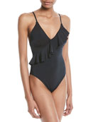 High-Leg Ruffle Maillot One-Piece Swimsuit