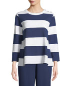 Striped Pullover Top, Petite