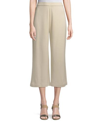 Cropped Cotton Interlock Pants, Petite