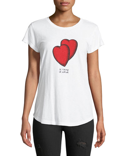 Crewneck Short-Sleeve T-Shirt with Heart-Graphics
