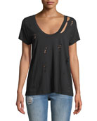 Cara Scoop-Neck Distressed T-Shirt