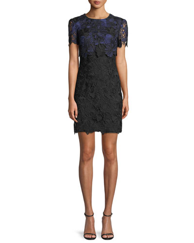 Caterina Bluebell Lace Popover Mini Dress