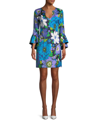 Winnie Wild Flower Faille Bell-Sleeve Dress