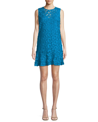 Barbra Morning Glory Sleeveless Lace Flounce Dress