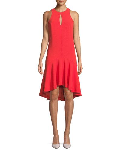 Keyhole High-Low Petal Sleeveless Dress